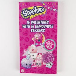 28 Units of Valentine Cards 16ct Shopkins Deluxe Rmv Stick - Valentine Gift Bag's