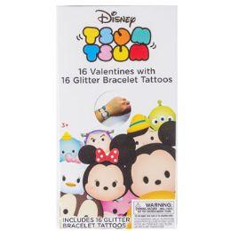 28 Units of Valentine Cards 16ct Tsum Tsum W/glitter Bracelets - Valentine Gift Bag's