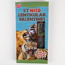 28 Units of Valentine Cards 27ct Lenticular Stickers Go Wild - Valentine Gift Bag's