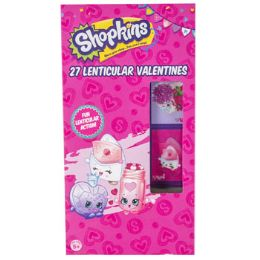 28 Units of Valentine Cards 27ct Shopkins Lenticular Stickers - Valentine Gift Bag's