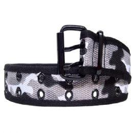 36 Units of Mens Camo Belt In Black - Mens Belts
