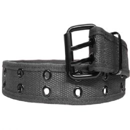 36 Units of Mens Two Hole Belt Fabric In Grey - Mens Belts