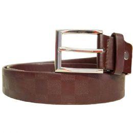 36 Units of Mens Pattern Belt In Brown - Mens Belts