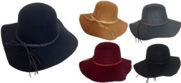 36 Units of Women Lady Wide Brim Hat with Braided Hat Band Assorted - Sun Hats