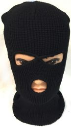48 Units of Unisex Black Ski Hat/Mask - Unisex Ski Masks