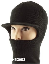 48 Units of Unisex Black Ski Hat/Mask With Lid - Unisex Ski Masks
