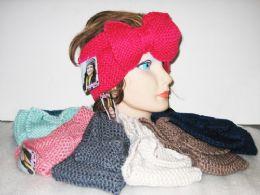 24 Units of Assorted Color Knit Bow Headband - Headbands