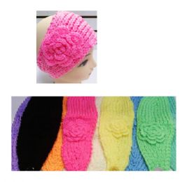 24 Units of Assorted Color Knit Bow Headband with Flower Design - Headbands