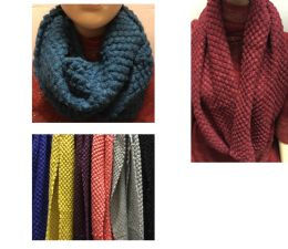 24 Units of Women's Textured Assorted Color Scarves - Womens Fashion Scarves