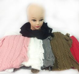 12 Units of Knitted Infinity Circle Scarves Long Braid Design - Winter Scarves