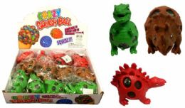72 Units of Mesh Squish Ball with Water Beads Dinosaur - Slime & Squishees