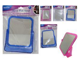 48 Units of Mirrow W/Stand Sq 3asst Clr - Bathroom Accessories