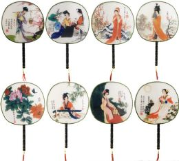 96 Units of Circular Chinese Fan With Wooden Handle - Novelty Toys