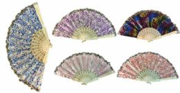 96 Units of Hand Fan With Various Shiny Pattern Assorted Colors - Novelty Toys