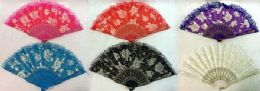 96 Units of Rose Hand Fan Assorted Colors - Novelty Toys