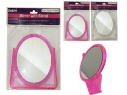 48 Units of Mirrow W/Stand Oval 3asst Clr - Bathroom Accessories