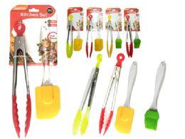 "96 Units of 2pc /set 10"" Tong +7.9' Brush - Kitchen Utensils"