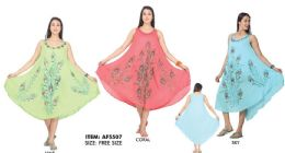 12 Units of Rayon Peacock Painted Umbrella Dresses - Womens Sundresses & Fashion