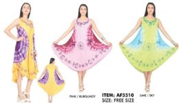 12 Units of Tie Dye Rayon Umbrella Dresses Assorted - Womens Sundresses & Fashion