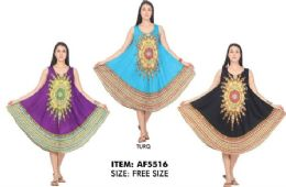 12 Units of Printed Rayon Umbrella Dresses - Womens Sundresses & Fashion