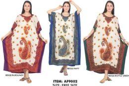 12 Units of Long Kaftan Paisley Graphic Printed - Womens Sundresses & Fashion