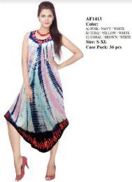 36 Units of Rayon Umbrella Tie Dye Dresses Assorted - Womens Sundresses & Fashion