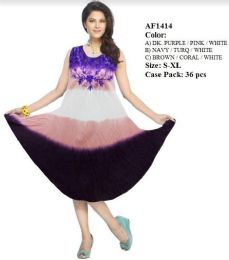 36 Units of Multicolor Rayon Tie Dye Dresses Assorted - Womens Sundresses & Fashion