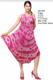 36 Units of Tie Dye Rayon Umbrella Dresses - Womens Sundresses & Fashion