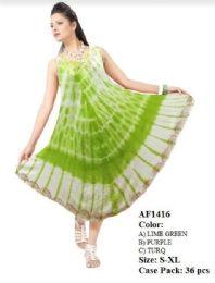 36 Units of Tie Dye Rayon Umbrella Dresses Assorted - Womens Sundresses & Fashion