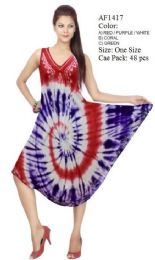 48 Units of Tie Dye Rayon Umbrella Dresses One Size Fits Most - Womens Sundresses & Fashion