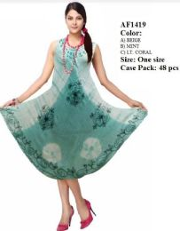 48 Units of Tie Dye Umbrella Rayon Dresses Assorted - Womens Sundresses & Fashion