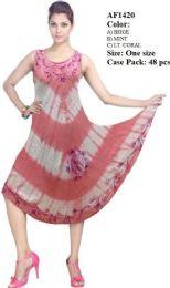 48 Units of Rayon Umbrella Dresses Tie Dye Assorted - Womens Sundresses & Fashion
