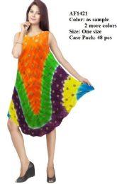 48 Units of Muticolor Rayon Umbrealla Tie Dye Dresses - Womens Sundresses & Fashion