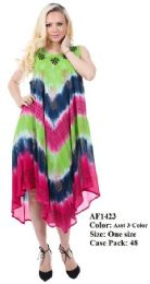 48 Units of Brush Hand Painted Rayon Umbrella Dresses - Womens Sundresses & Fashion