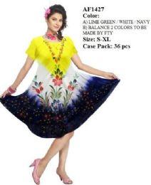 36 Units of Short Sleeve Rayon Tie Dye Umbrella Dresses - Womens Sundresses & Fashion