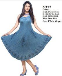 48 Units of Rayon Denim Umbrella Dress Assorted - Womens Sundresses & Fashion