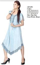 48 Units of Short Sleeve Rayon Denim Umbrella Dresses - Womens Sundresses & Fashion