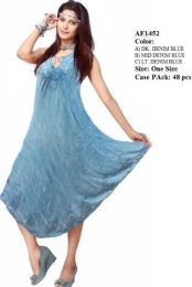 48 Units of Rayon Denim Umbrella Dresses Assorted With Front Ties - Womens Sundresses & Fashion