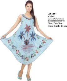 48 Units of Denim Rayon Dresses With Hand Painted Palm Trees - Womens Sundresses & Fashion