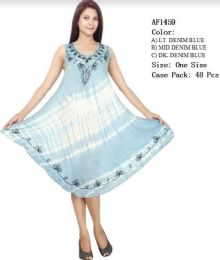 48 Units of Enzyme Denim Wash Tie Dye Rayon Dresses - Womens Sundresses & Fashion
