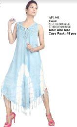 48 Units of Enzyme Denim Wash Tie Dye Rayon Dresses With Fringes - Womens Sundresses & Fashion