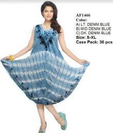 36 Units of Enzyme Wash Tie Dye Rayon Dresses Assorted - Womens Sundresses & Fashion