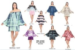 48 Units of Rayon Off Shoulder Bell Sleeve Tie Dye Dresses - Womens Sundresses & Fashion