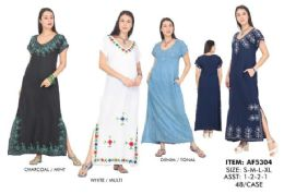 48 Units of Maxi Solid Rayon Dress With Embroderies - Womens Sundresses & Fashion
