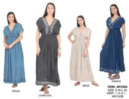 48 Units of Solid Rayon Maxi Dresses With Embroideries - Womens Sundresses & Fashion