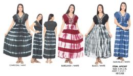 48 Units of Tie Dye Rayon Maxi Dresses With Front Ties - Womens Sundresses & Fashion