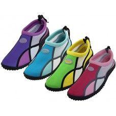 "36 Units of Women's ""wave"" Multi Color Water Shoes - Women's Aqua Socks"
