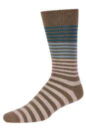 120 Units of Men's Bamboo Nylon Spandex Crew Dress Socks In Khaki - Mens Dress Sock