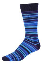 120 Units of Men's Bamboo Nylon Spandex Crew Dress Socks In Blue - Mens Dress Sock