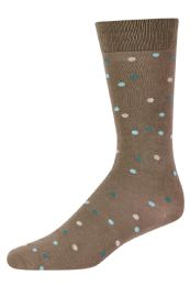 120 Units of Men's Bamboo Nylon Spandex Crew Dress Socks In Dot Khaki - Mens Dress Sock